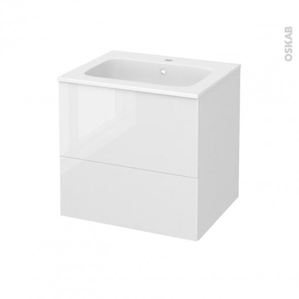 STECIA Blanc - Meuble salle de bains N°621 - Vasque REZO - 2 tiroirs  - L60,5xH58,5xP50,5