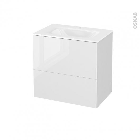 Meuble de salle de bains - Plan vasque VALA - STECIA Blanc - 2 tiroirs - Côtés blancs - L60,5 x H58,2 x P40,5 cm