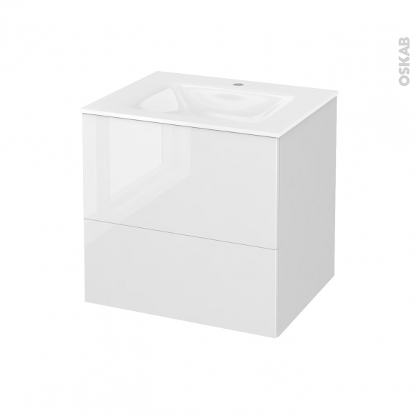 Meuble de salle de bains - Plan vasque VALA - STECIA Blanc - 2 tiroirs - Côtés blancs - L60,5 x H58,2 x P50,5 cm