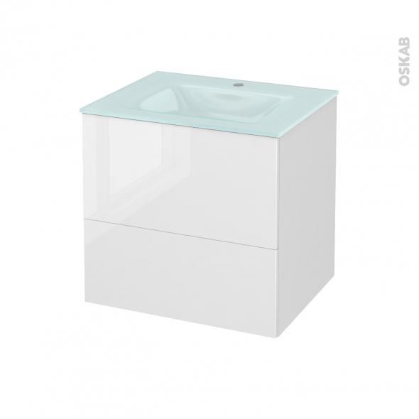 STECIA Blanc - Meuble salle de bains N°622 - Vasque EGEE - 2 tiroirs  - L60,5xH58,2xP50,5