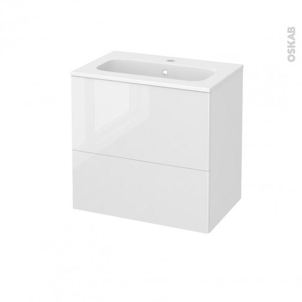 STECIA Blanc - Meuble salle de bains N°622 - Vasque REZO - 2 tiroirs Prof.40 - L60,5xH58,5xP40,5
