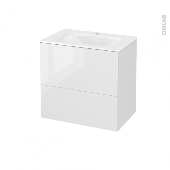 Meuble de salle de bains - Plan vasque VALA - STECIA Blanc - 2 tiroirs - Côtés décors - L60,5 x H58,2 x P40,5 cm