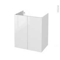 Meuble de salle de bains - Sous vasque - BORA Blanc - 2 portes - Côtés blancs - L60 x H70 x P40 cm