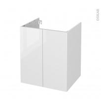 Meuble de salle de bains - Sous vasque - STECIA Blanc - 2 portes - Côtés blancs - L60 x H70 x P50 cm