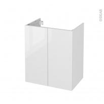 Meuble de salle de bains - Sous vasque - BORA Blanc - 2 portes - Côtés décors - L60 x H70 x P40 cm