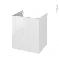 Meuble de salle de bains - Sous vasque - BORA Blanc - 2 portes - Côtés décors - L60 x H70 x P50 cm