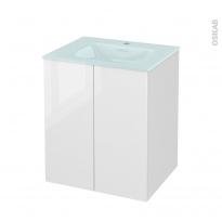 Meuble de salle de bains - Plan vasque EGEE - BORA Blanc - 2 portes - Côtés décors - L60,5 x H71,2 x P50,5 cm