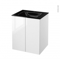 STECIA Blanc - Meuble salle de bains N°692 - Vasque OCCE - 2 portes  - L60,5xH71,2xP50,5