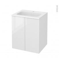 Meuble de salle de bains - Plan vasque REZO - BORA Blanc - 2 portes - Côtés décors - L60,5 x H71,5 x P50,5 cm