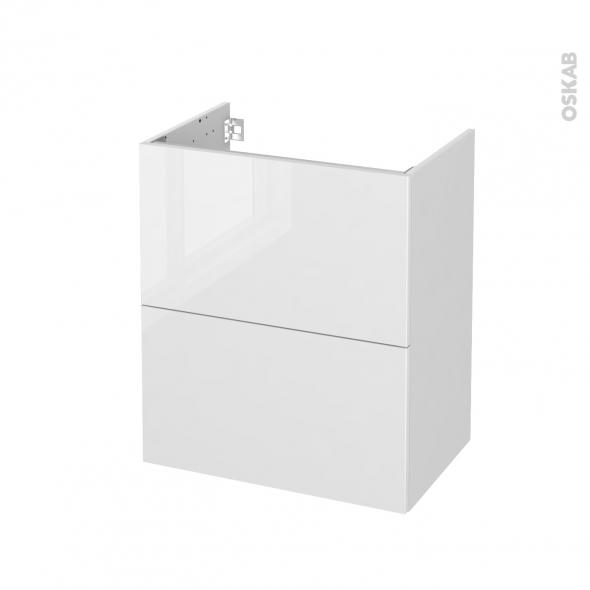 Meuble de salle de bains - Sous vasque - STECIA Blanc - 2 tiroirs - Côtés blancs - L60 x H70 x P40 cm