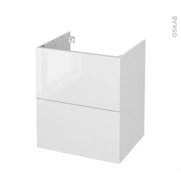 Meuble de salle de bains - Sous vasque - STECIA Blanc - 2 tiroirs - Côtés blancs - L60 x H70 x P50 cm