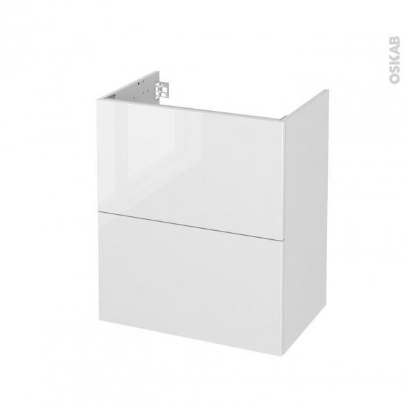 Meuble de salle de bains - Sous vasque - STECIA Blanc - 2 tiroirs - Côtés décors - L60 x H70 x P40 cm