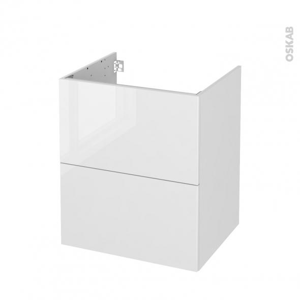 Meuble de salle de bains - Sous vasque - STECIA Blanc - 2 tiroirs - Côtés décors - L60 x H70 x P50 cm