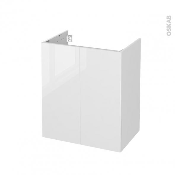 Meuble de salle de bains - Sous vasque - STECIA Blanc - 2 portes - Côtés blancs - L60 x H70 x P40 cm