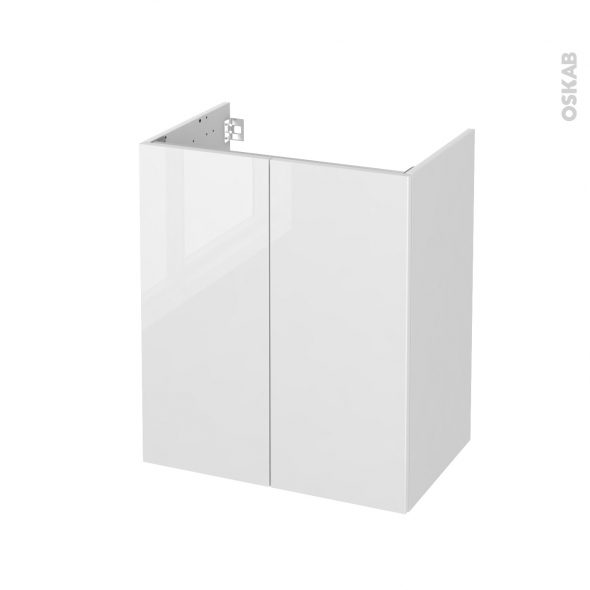 STECIA Blanc - Meuble sous vasque N°691 - Côté blanc - 2 portes prof.40 - L60xH70xP40