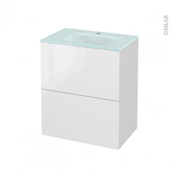 STECIA Blanc - Meuble salle de bains N°571 - Vasque EGEE - 2 tiroirs Prof.40 - L60,5xH71,2xP40,5