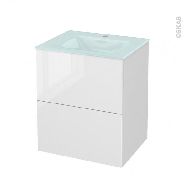 STECIA Blanc - Meuble salle de bains N°571 - Vasque EGEE - 2 tiroirs  - L60,5xH71,2xP50,5