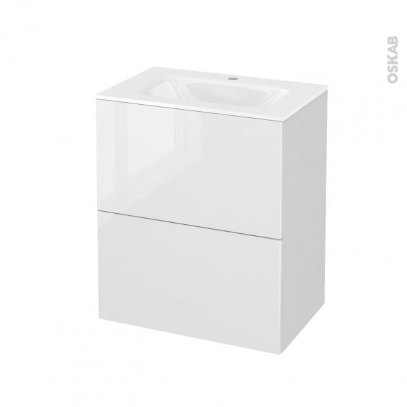 Meuble de salle de bains - Plan vasque VALA - STECIA Blanc - 2 tiroirs - Côtés blancs - L60,5 x H71,2 x P40,5 cm