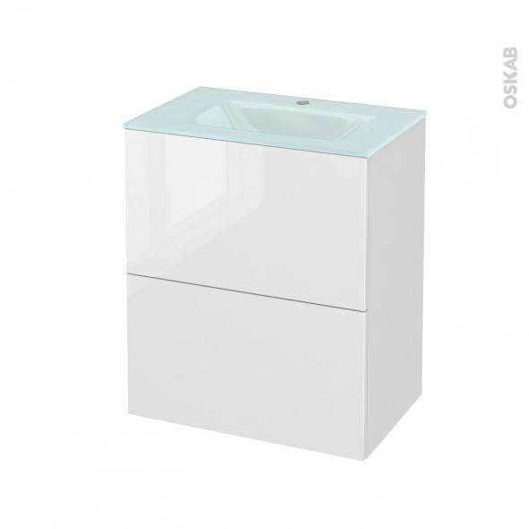 STECIA Blanc - Meuble salle de bains N°572 - Vasque EGEE - 2 tiroirs Prof.40 - L60,5xH71,2xP40,5