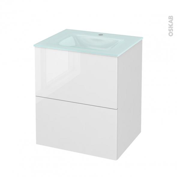 STECIA Blanc - Meuble salle de bains N°572 - Vasque EGEE - 2 tiroirs  - L60,5xH71,2xP50,5