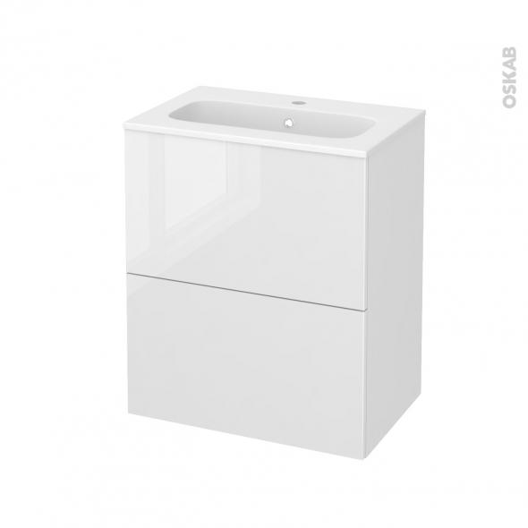 Meuble de salle de bains - Plan vasque REZO - BORA Blanc - 2 tiroirs - Côtés décors - L60,5 x H71,5 x P40,5 cm