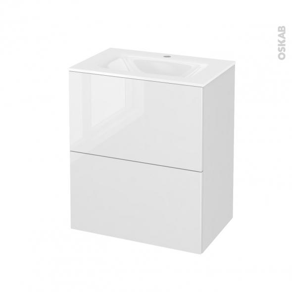 STECIA Blanc - Meuble salle de bains N°572 - Vasque VALA - 2 tiroirs Prof.40 - L60,5xH71,2xP40,5
