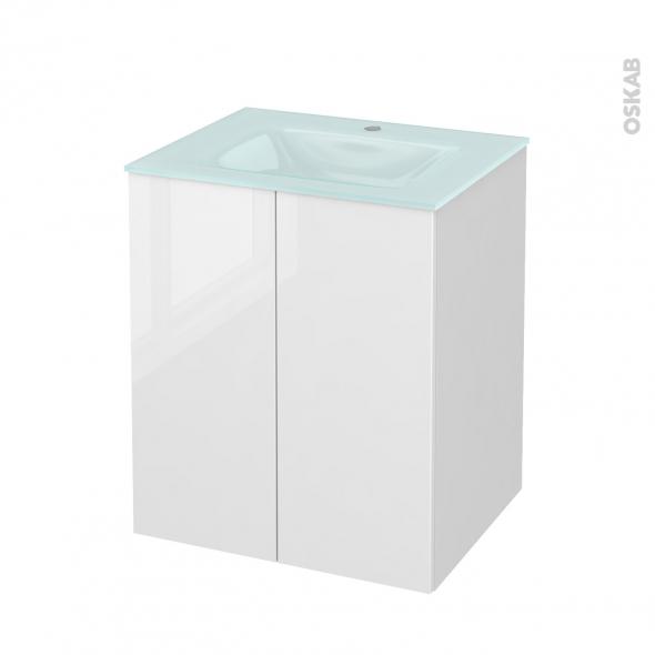 Meuble de salle de bains - Plan vasque EGEE - STECIA Blanc - 2 portes - Côtés blancs - L60,5 x H71,2 x P50,5 cm