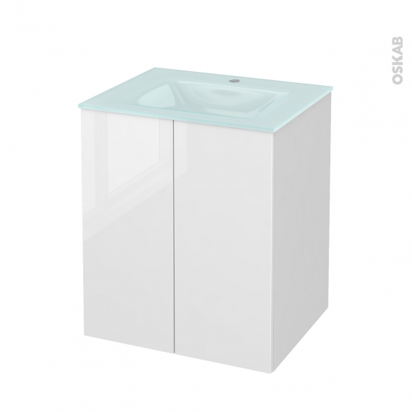 STECIA Blanc - Meuble salle de bains N°691 - Vasque EGEE - 2 portes  - L60,5xH71,2xP50,5