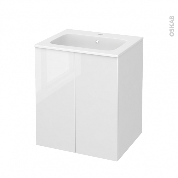 Meuble de salle de bains - Plan vasque REZO - STECIA Blanc - 2 portes - Côtés blancs - L60,5 x H71,5 x P50,5 cm