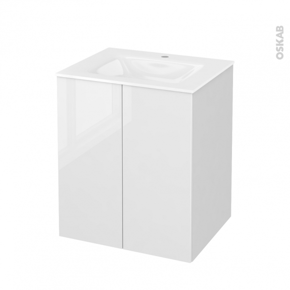 STECIA Blanc - Meuble salle de bains N°691 - Vasque VALA - 2 portes  - L60,5xH71,2xP50,5