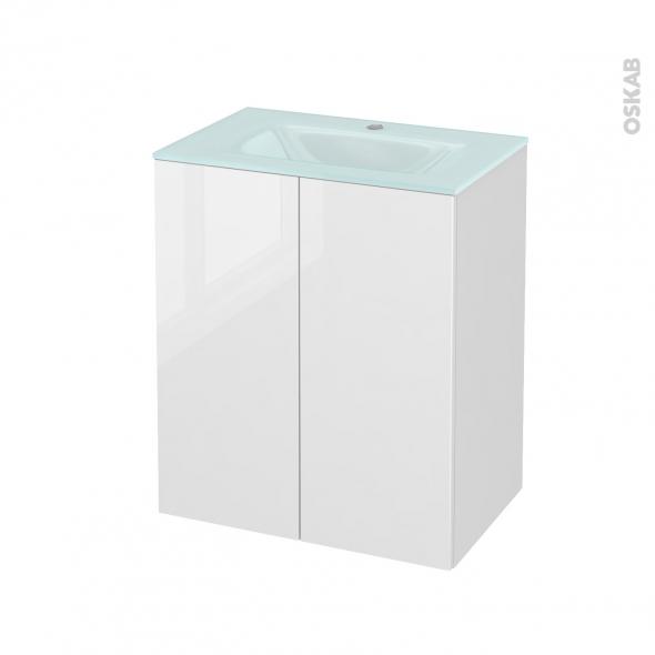 Meuble de salle de bains - Plan vasque EGEE - STECIA Blanc - 2 portes - Côtés décors - L60,5 x H71,2 x P40,5 cm