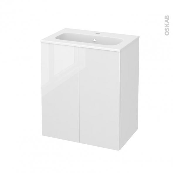 STECIA Blanc - Meuble salle de bains N°692 - Vasque REZO - 2 portes Prof.40 - L60,5xH71,5xP40,5