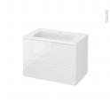 Meuble de salle de bains - Plan vasque REZO - BORA Blanc - 2 tiroirs - Côtés décors - L80.5 x H58.5 x P50.5 cm