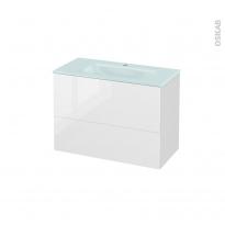 Meuble de salle de bains - Plan vasque EGEE - BORA Blanc - 2 tiroirs - Côtés décors - L80,5 x H58,2 x P40,5 cm