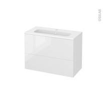 Meuble de salle de bains - Plan vasque REZO - BORA Blanc - 2 tiroirs - Côtés décors - L80.5 x H58.5 x P40.5 cm