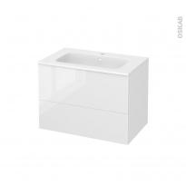 Meuble de salle de bains - Plan vasque REZO - BORA Blanc - 2 tiroirs - Côtés décors - L80,5 x H58,5 x P50,5 cm