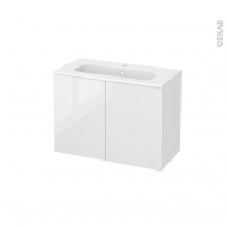 Meuble de salle de bains - Plan vasque REZO - STECIA Blanc - 2 portes - Côtés décors - L80,5 x H58,5 x P40,5 cm
