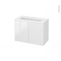 STECIA Blanc - Meuble salle de bains N°642 - Vasque REZO - 2 portes Prof.40 - L80,5xH58,5xP40,5
