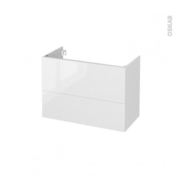 Meuble de salle de bains - Sous vasque - BORA Blanc - 2 tiroirs - Côtés blancs - L80 x H57 x P40 cm