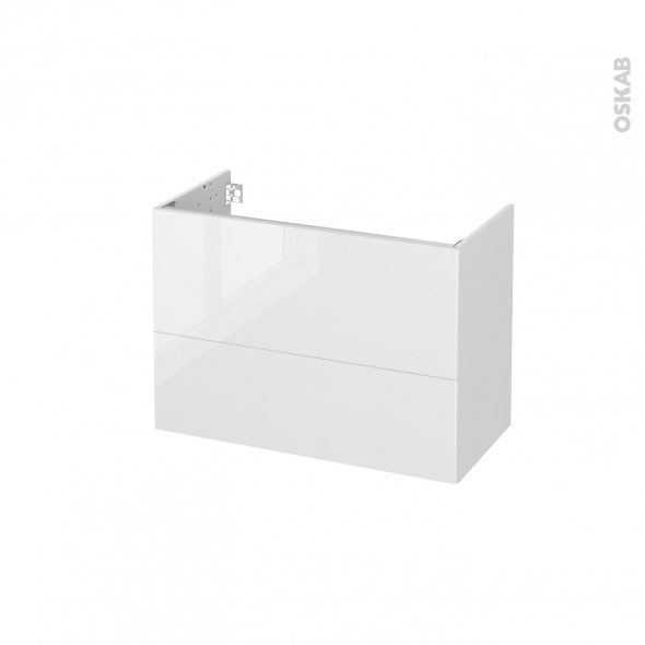 STECIA Blanc - Meuble sous vasque N°631 - Côté blanc  - 2 tiroirs prof.40 - L80xH57xP40
