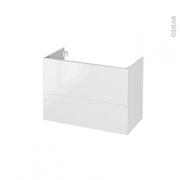 Meuble de salle de bains - Sous vasque - STECIA Blanc - 2 tiroirs - Côtés décors - L80 x H57 x P40 cm