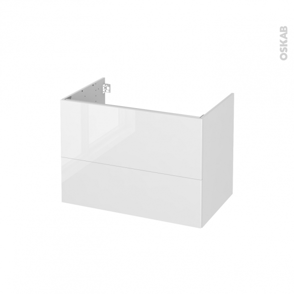 STECIA Blanc - Meuble sous vasque N°632 - Côté décor - 2 tiroirs - L80xH57xP50