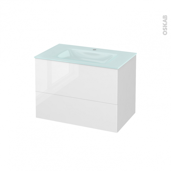 Meuble de salle de bains - Plan vasque EGEE - STECIA Blanc - 2 tiroirs - Côtés blancs - L80,5 x H58,2 x P50,5 cm