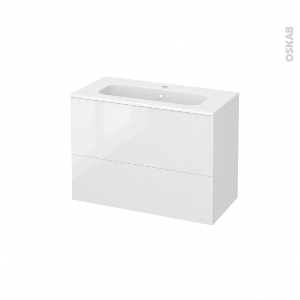 Meuble de salle de bains - Plan vasque REZO - STECIA Blanc - 2 tiroirs - Côtés blancs - L80,5 x H58,5 x P40,5 cm