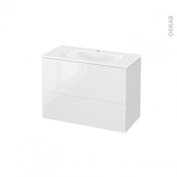 Meuble de salle de bains - Plan vasque VALA - STECIA Blanc - 2 tiroirs - Côtés blancs - L80,5 x H58,2 x P40,5 cm