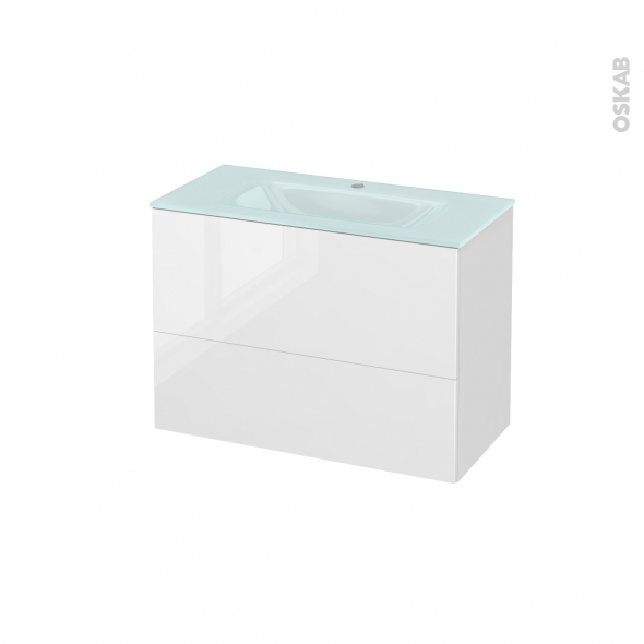 Meuble de salle de bains - Plan vasque EGEE - STECIA Blanc - 2 tiroirs - Côtés décors - L80,5 x H58,2 x P40,5 cm