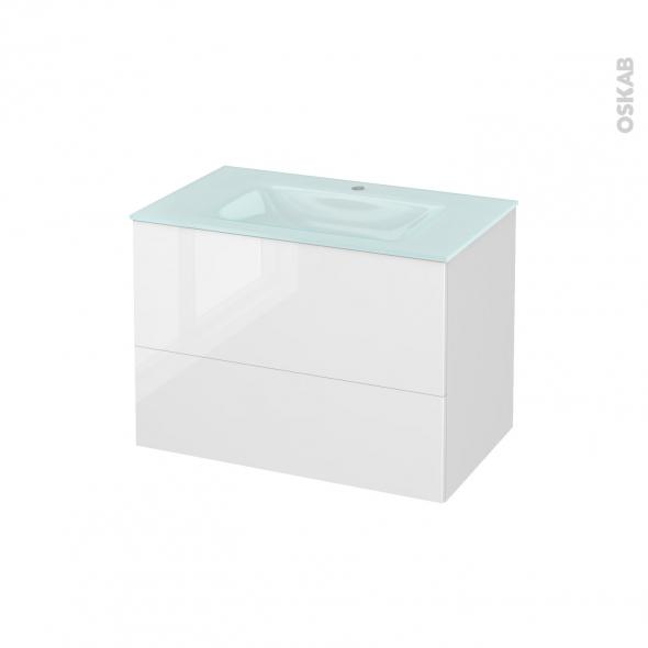 Meuble de salle de bains - Plan vasque EGEE - STECIA Blanc - 2 tiroirs - Côtés décors - L80,5 x H58,2 x P50,5 cm