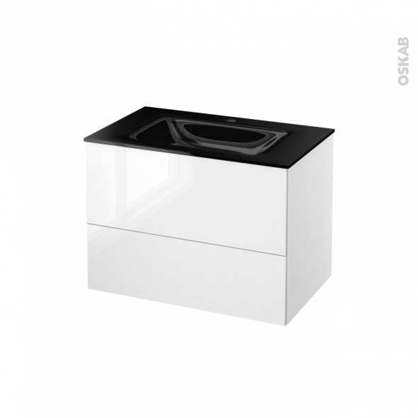 STECIA Blanc - Meuble salle de bains N°632 - Vasque OCCE - 2 tiroirs  - L80,5xH58,2xP50,5