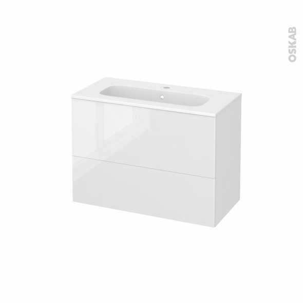 STECIA Blanc - Meuble salle de bains N°632 - Vasque REZO - 2 tiroirs Prof.40 - L80,5xH58,5xP40,5