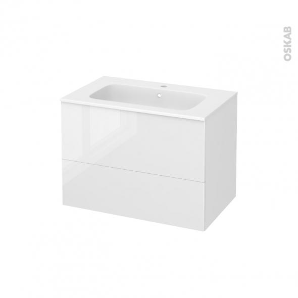 Meuble de salle de bains - Plan vasque REZO - STECIA Blanc - 2 tiroirs - Côtés décors - L80,5 x H58,5 x P50,5 cm